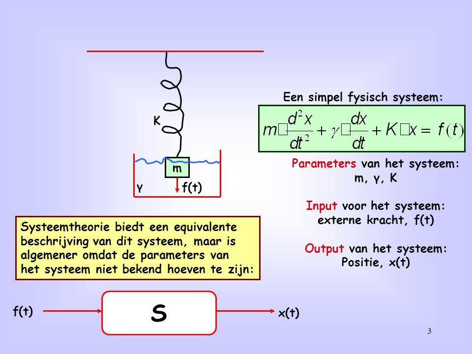 Systeemanalyse: y(t) = S[x(t)] identificeer S[ ]